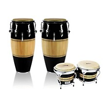 Performer Series 2-Piece Conga and Bongo Set with Chrome Hardware Black/Natural