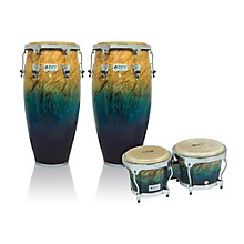 Performer Series 2-Piece Conga and Bongo Set with Chrome Hardware Blue Fade