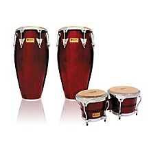 Performer Series 2-Piece Conga and Bongo Set with Chrome Hardware Dark Wood
