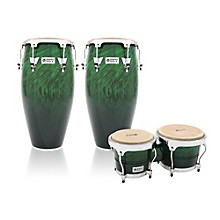 Performer Series 2-Piece Conga and Bongo Set with Chrome Hardware Green Fade