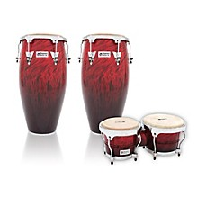 Performer Series 2-Piece Conga and Bongo Set with Chrome Hardware Red Fade