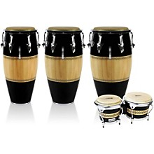 Performer Series 3-Piece Conga and Bongo Set with Chrome Hardware Black/Natural