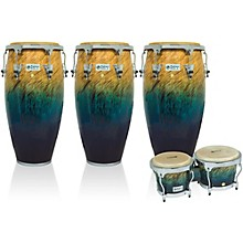 Performer Series 3-Piece Conga and Bongo Set with Chrome Hardware Blue Fade