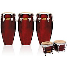 Performer Series 3-Piece Conga and Bongo Set with Chrome Hardware Dark Wood
