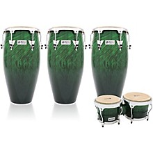 Performer Series 3-Piece Conga and Bongo Set with Chrome Hardware Green Fade