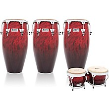 Performer Series 3-Piece Conga and Bongo Set with Chrome Hardware Red Fade