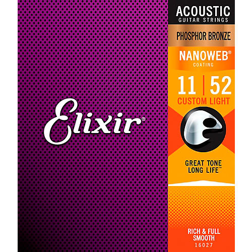Elixir Phosphor Bronze Acoustic Guitar Strings with NANOWEB Coating, Custom Light (.011-.052)