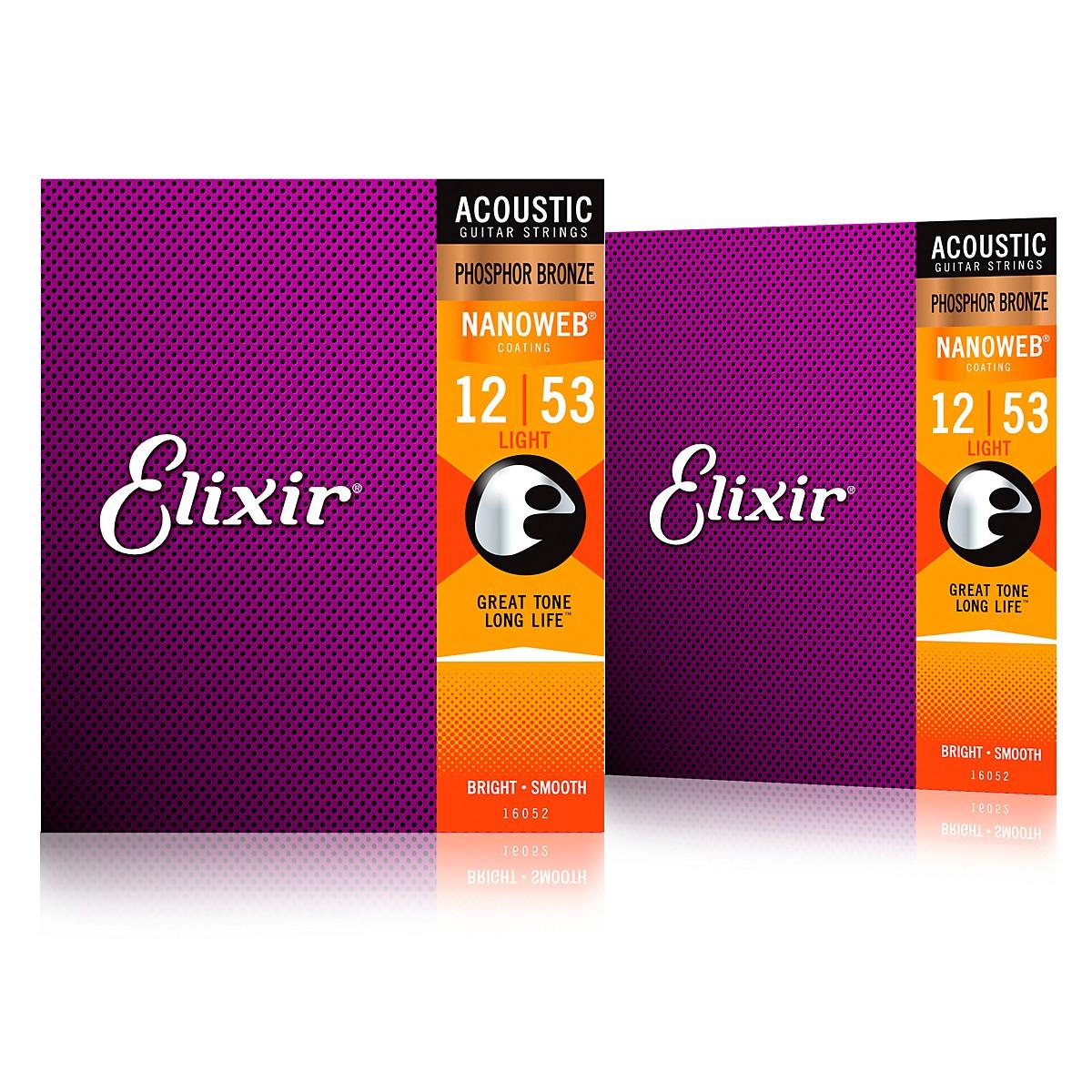Elixir Phosphor Bronze Acoustic Guitar Strings with NANOWEB Coating, Light (.012-.053) 2-Pack