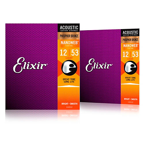 Elixir Phosphor Bronze Acoustic Guitar Strings with NANOWEB Coating, Light (.012-.053) 2-Pack