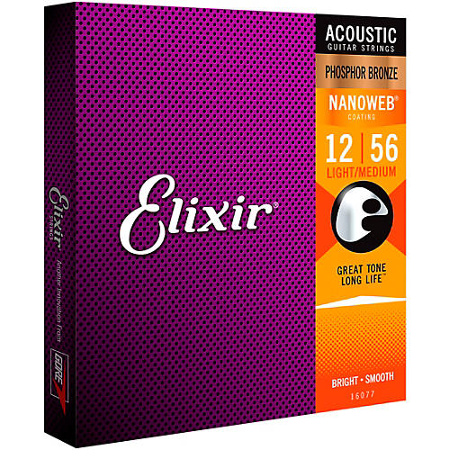 Elixir Phosphor Bronze Acoustic Guitar Strings with NANOWEB Coating, Light/Medium (.012-.056)