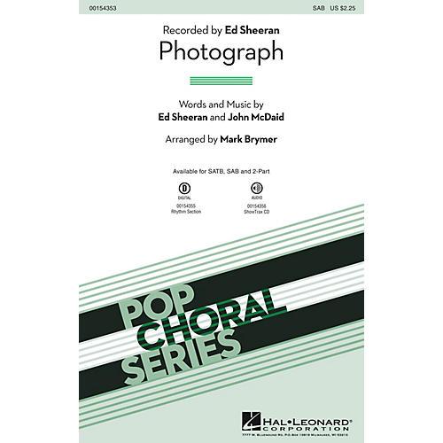 Hal Leonard Photograph SAB by Ed Sheeran arranged by Mark Brymer