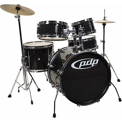 pdp by dw player 5 piece junior drum set with cymbals and throne black guitar center. Black Bedroom Furniture Sets. Home Design Ideas