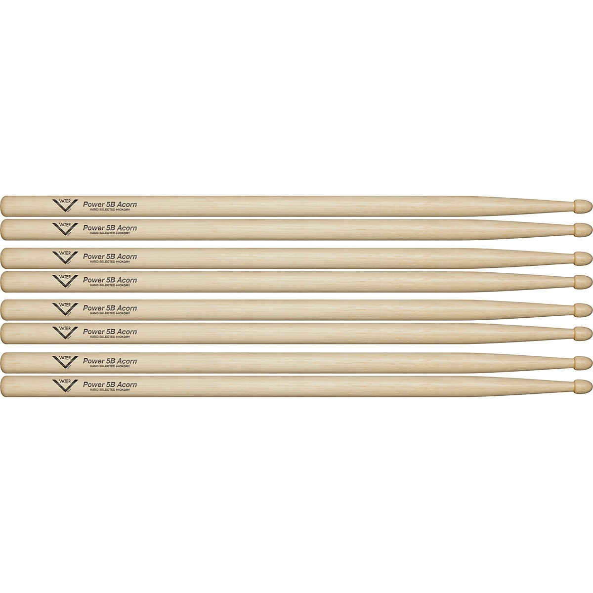 Vater Power 5B Acorn Drum Sticks - Buy 3, Get 1 Free Value Pack