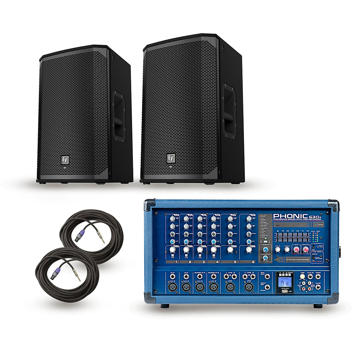 Phonic Powerpod 630R Mixer with EKX Speakers PA Package