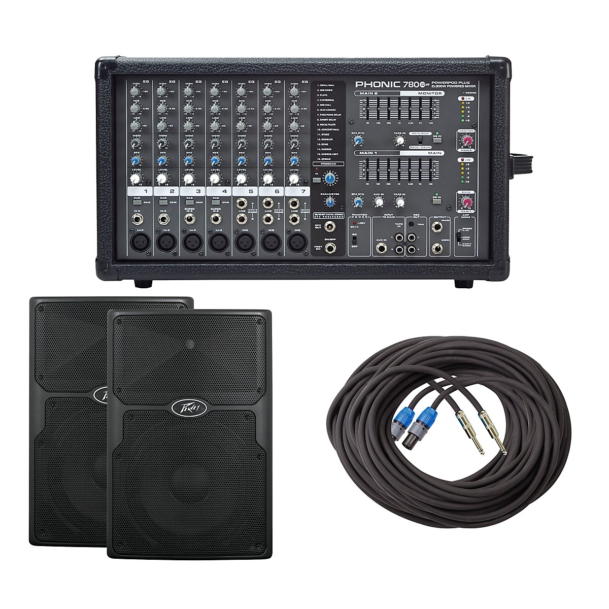 Phonic Powerpod 780 Plus Mixer with PVx Speakers PA Package
