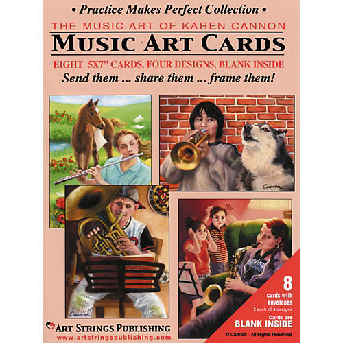 Art Strings Practice Makes Perfect Collection Greeting Cards 8-Pack Assorted