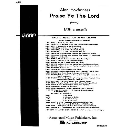 Associated Praise Ye The Lord  Motet A Cappella SATB composed by A Hovhaness