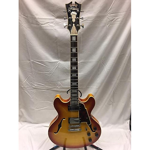 used d 39 angelico premier series dc hollow body electric guitar heritage cherry sunburst guitar. Black Bedroom Furniture Sets. Home Design Ideas