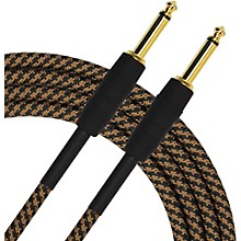 KIRLIN Premium Plus Instrument Cable, Brown/Black Woven Jacket