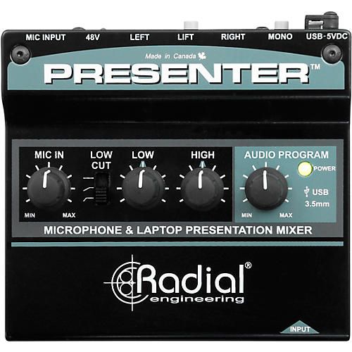 Radial Engineering Presenter Audio Compact Presentation Mixer and USB Interface