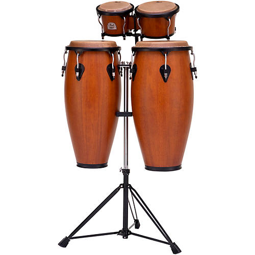 Pearl Primero Conga and Bongo Set With Stand in Mahogany Satin Stain