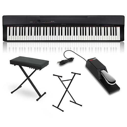 casio privia px 160bk digital piano with stand sustain pedal and deluxe keyboard bench guitar. Black Bedroom Furniture Sets. Home Design Ideas