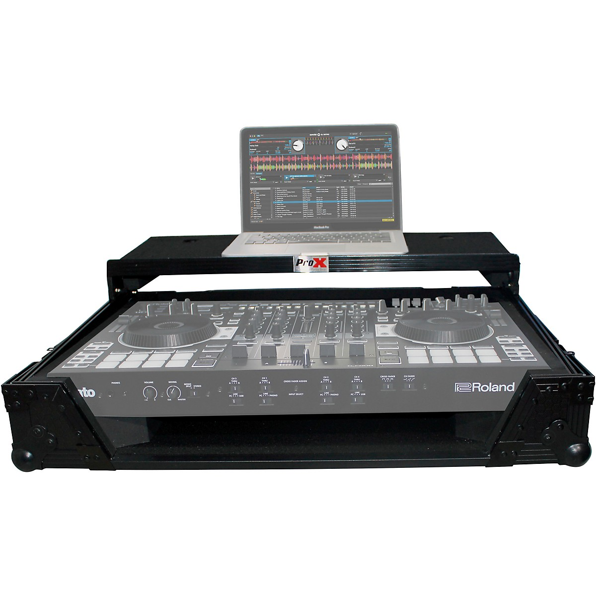 ProX ProX XS-DJ808WLT Flight Case for Roland DJ-808 or Denon MC7000 Digital Controller W-Wheels and Sliding Laptop Shelf