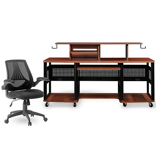 Studio RTA Producer Station Cherry and Mesh Managers Office Chair Bundle