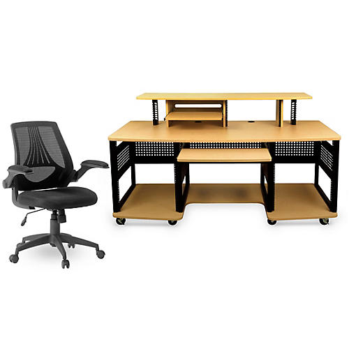 Studio RTA Producer Station Maple and Mesh Managers Office Chair Bundle