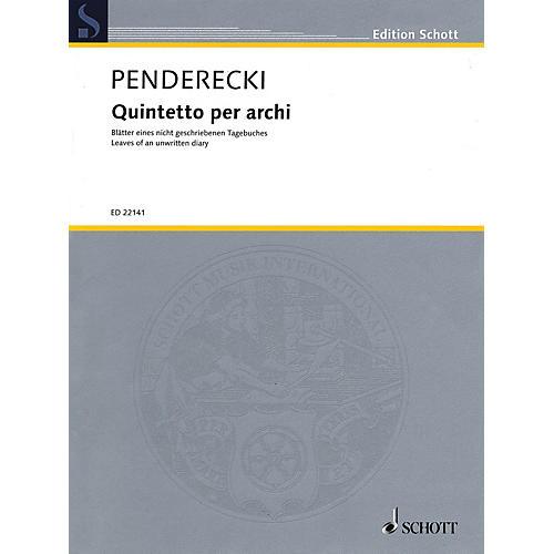 Schott Quintetto per archi String Ensemble Series Composed by Krzysztof Penderecki