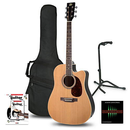 rogue ra 110d ce dreadnought acoustic electric guitar natural beginner 39 s package guitar center. Black Bedroom Furniture Sets. Home Design Ideas