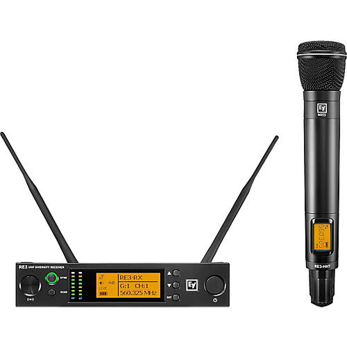 Electro-Voice RE3 Wireless Handheld Set with ND86 Dynamic Supercardioid Vocal Microphone Head 560-596MHz