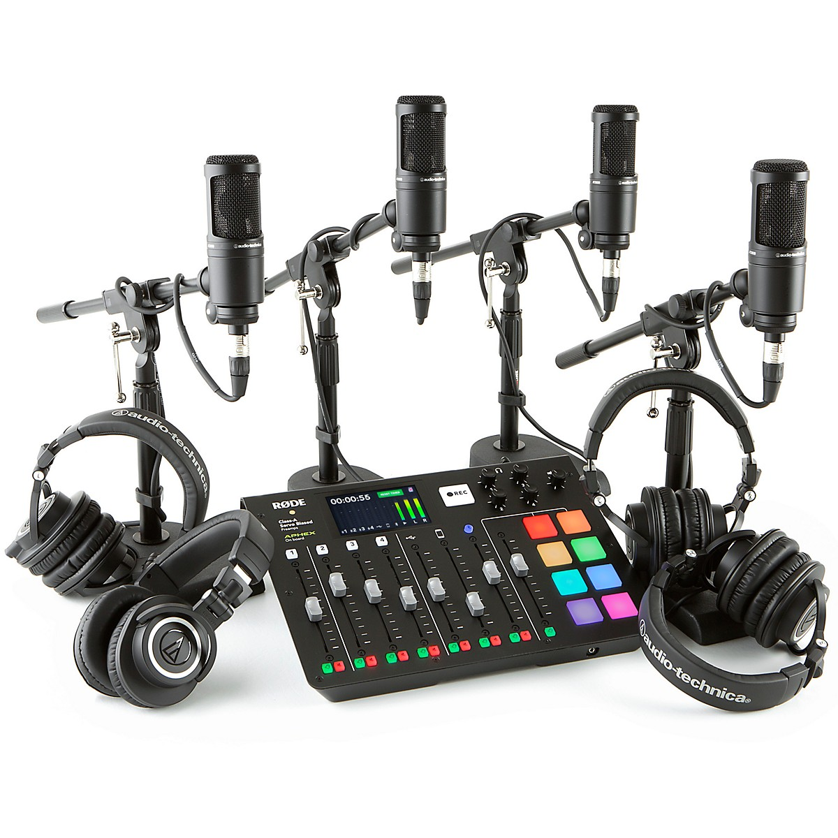 Rode RODEcaster Pro 4-Person Podcasting Bundle With AT2020 & ATHM50X