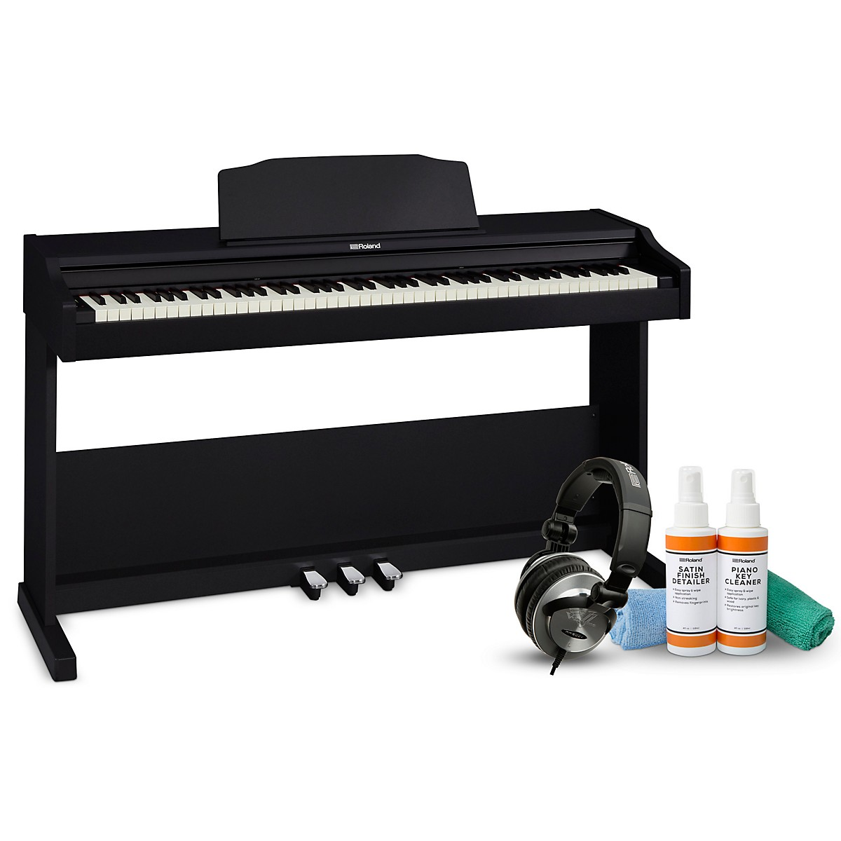 Roland RP-102 Digital Piano with RH-300V Headphones and Cleaning Kit