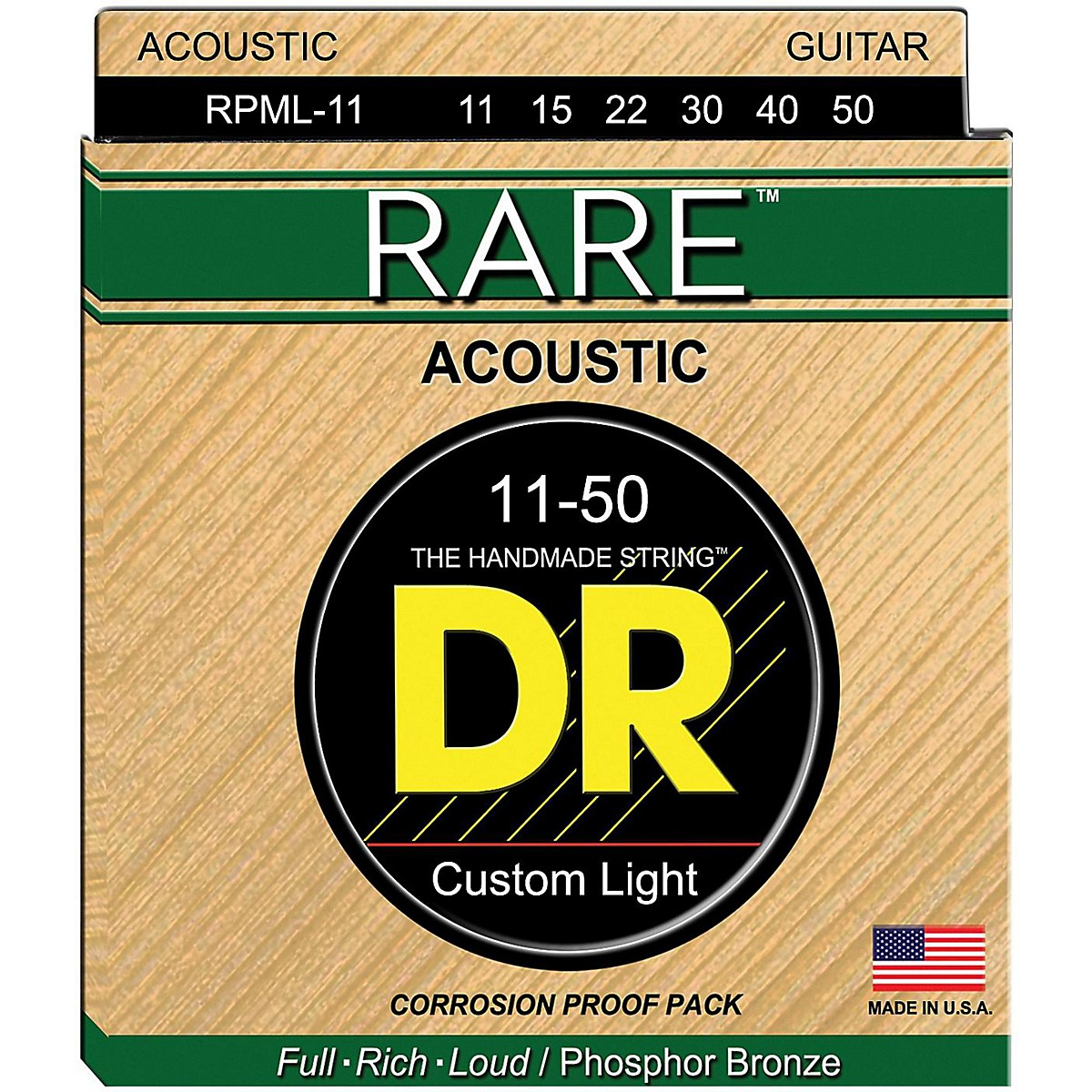 DR Strings RPML-11 Custom Light RARE Phosphor Bronze Acoustic Strings