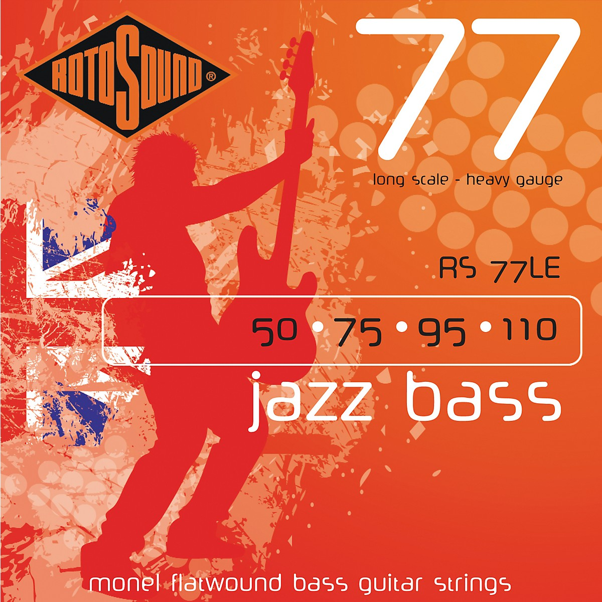 Rotosound RS77LE Heavy Gauge Jazz Bass Monel Flat Wound Strings