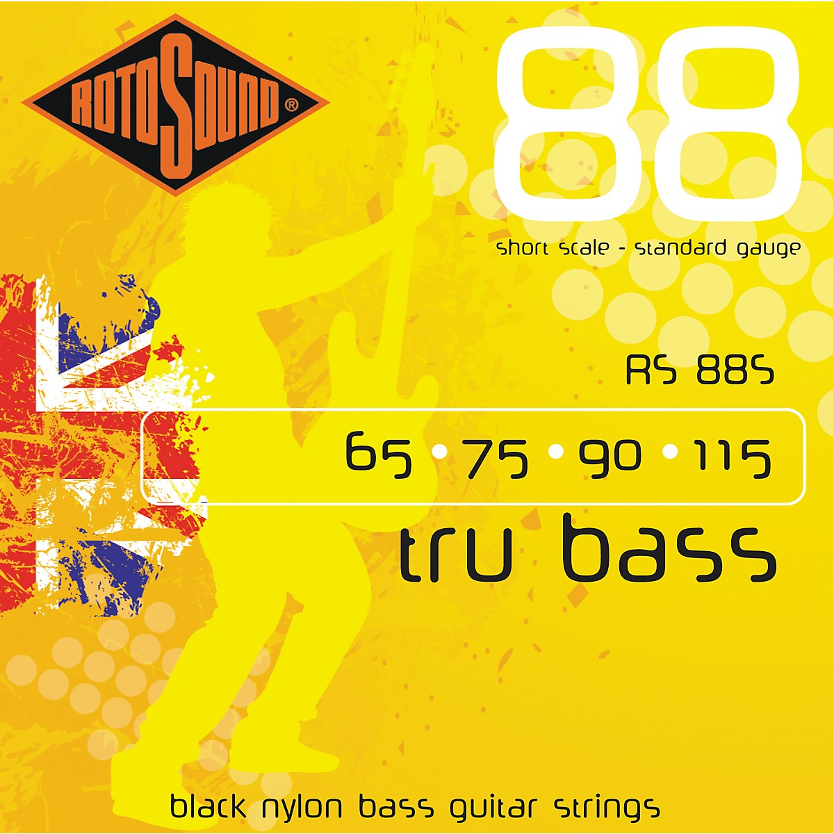 Rotosound RS88S Trubass Black Nylon Flatwound Standard Gauge Short Scale Bass Strings