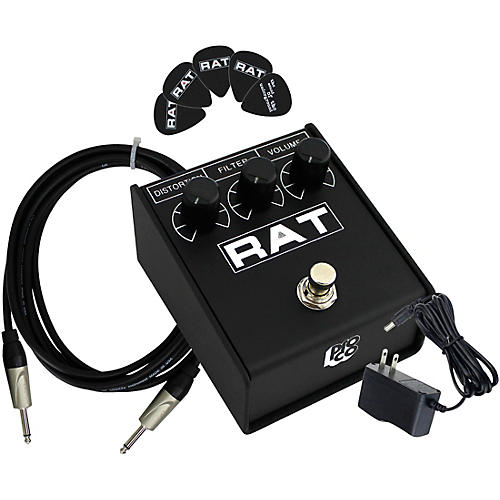 Pro Co Rat2 Distortion Effects Pedal Bundle with Cable, Power Supply, Picks