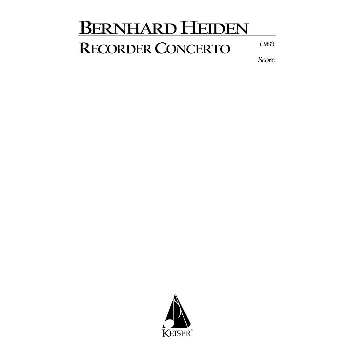 Lauren Keiser Music Publishing Recorder Concerto LKM Music Series by Bernhard Heiden