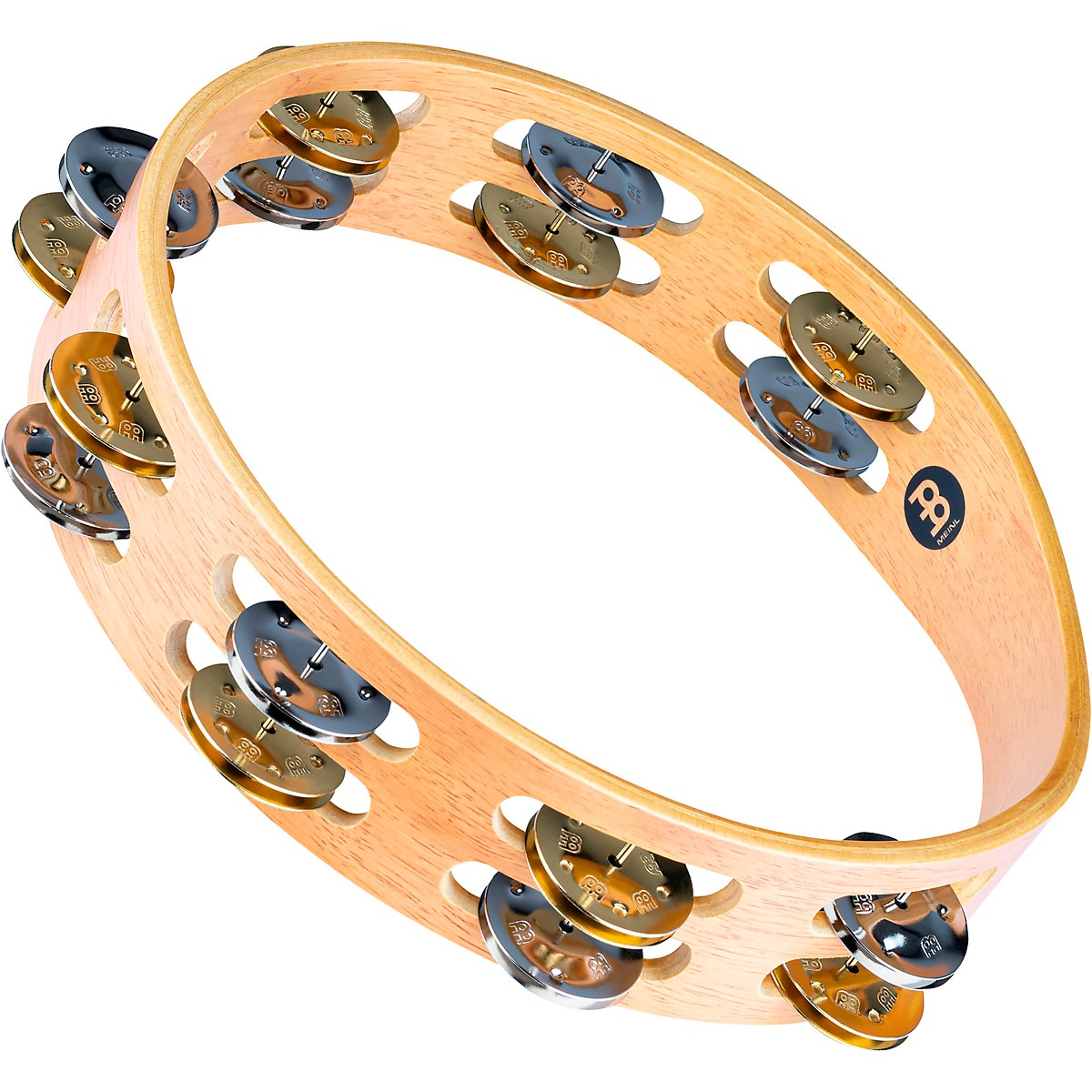 Meinl Recording-Combo Wood Tambourine Two Rows Dual Alloy Jingles