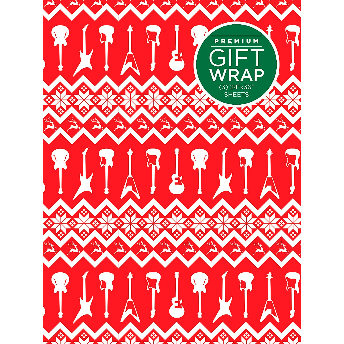 Hal Leonard Red And White Guitar Premium Gift Wrapping Paper