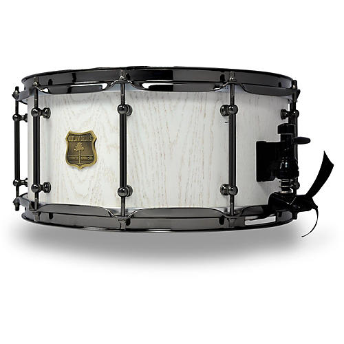 outlaw drums red oak stave snare drum with black chrome hardware guitar center. Black Bedroom Furniture Sets. Home Design Ideas