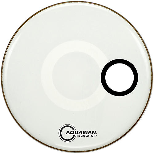 Aquarian Regulator Off-Set Hole Gloss White Bass Drum Head