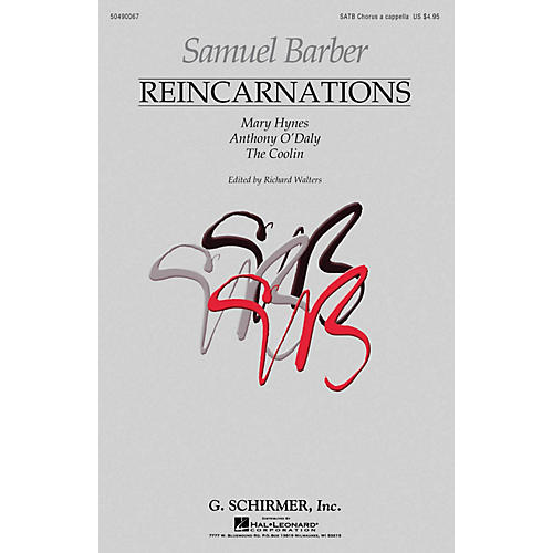 G. Schirmer Reincarnations - Complete Edition (Mary Hynes Anthony O'Daly The Coolin) SATB a cappella by Samuel Barber