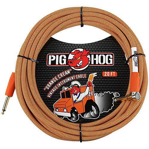 Pig Hog Right Angle Instrument Cable 20 Ft Orange Cream