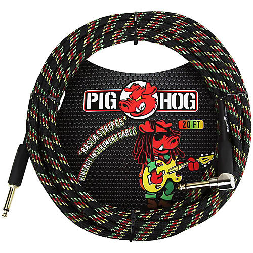Pig Hog Right Angle Instrument Cable 20 Ft Rasta Stripes