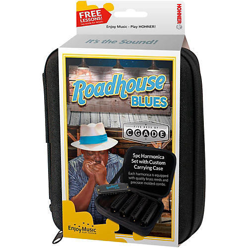 Hohner Roadhouse Blues Harmonicas - 5-Pack (Keys of G, A, C, D, and E)  in Custom Case