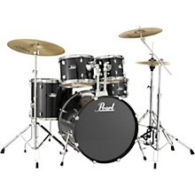 Roadshow Complete 5-Piece Drum Set with Hardware and Zildjian Planet Z Cymbals Jet Black