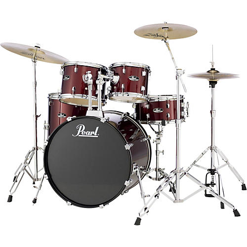 pearl roadshow complete 5 piece drum set with hardware and zildjian planet z cymbals red wine. Black Bedroom Furniture Sets. Home Design Ideas