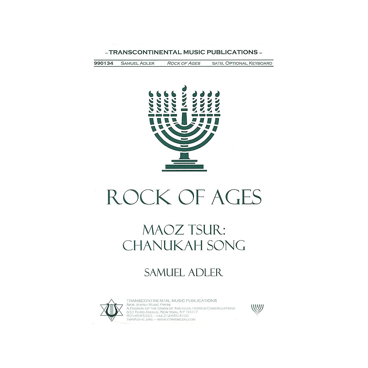 Transcontinental Music Rock Of Ages (Maoz Tsur) SATB arranged by Samuel Adler